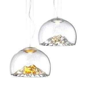Image 5 - Дизайнерсветодиодный монолитный блок светодиодов D40 см 110 В 220 В 3000 К теплый белый 12 Вт Золотой/Серебряный горный прозрачный стеклянный подвесной светильник Подвесная лампа