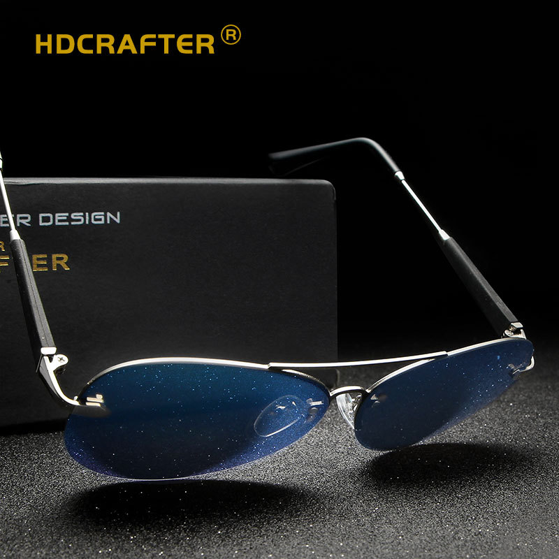 75b93c7cd54 HDCRAFTER Polarized Semi rimless Vintage Mens Sunglasses Brand Designer  Mirror Driving Sun Glasses Eyewear Accessories shades-in Sunglasses from  Apparel ...