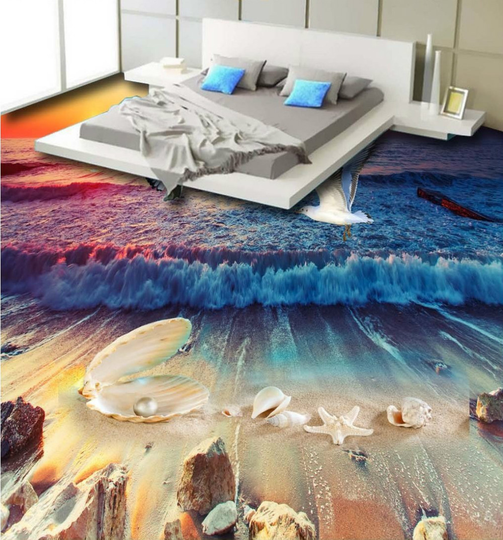 Free Shipping 3D floor bathroom living room hotel Beautiful beach shell pearl conch 3D floor wallpaper mural rs485 hub 2 hub 485 switch 232 converter optical isolation industrial grade dt 9022i