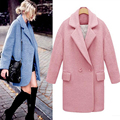 Mlyubovi New Women Blue Coats Winter Spliced Coats, Female Pink/White/Blue Coats Fashion fluorescent color High Quality Coats