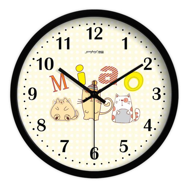 Cute Cartoon Cat Living Room Quiet Quartz Wall Clock Home Decoration Bedroom Fashion Creative Wall Clocks