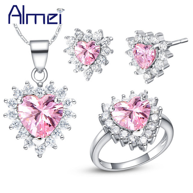 Almei Jewelry Sets 925 Sterling Silver Earrings Wedding Accessories Jewellery Collares Mujer Pendientes Decoration Women T475
