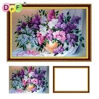 DPF 5D Diamant Stickerei lila mit Rahmen Diamant malerei Kreuzstich voll Runde diamant Mosaik kit wohnkultur handwerk blume