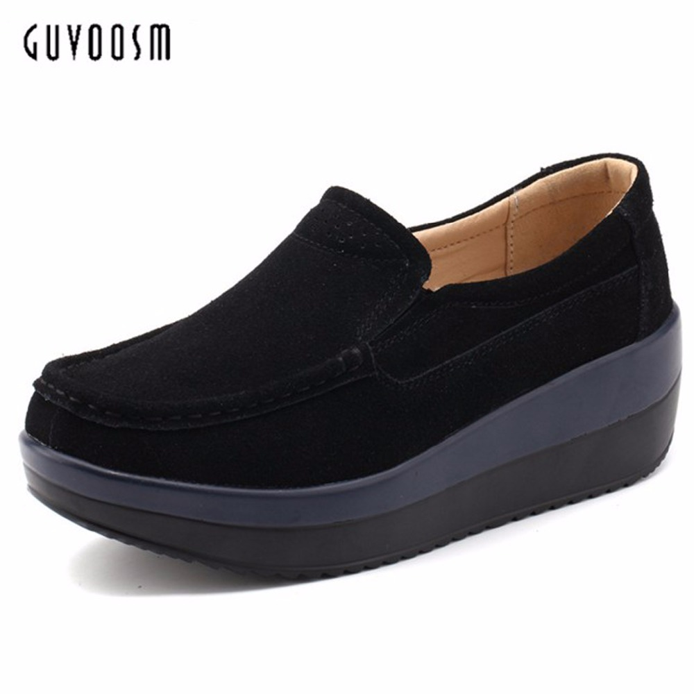 Guvoosm Ladies Med Heels Pumps Women Black Casual  Sapato Feminino Rubber Slip-On Shoes Woman Round Toe Big Small Size 31-43 2017 shoes women med heels tassel slip on women pumps solid round toe high quality loafers preppy style lady casual shoes 17