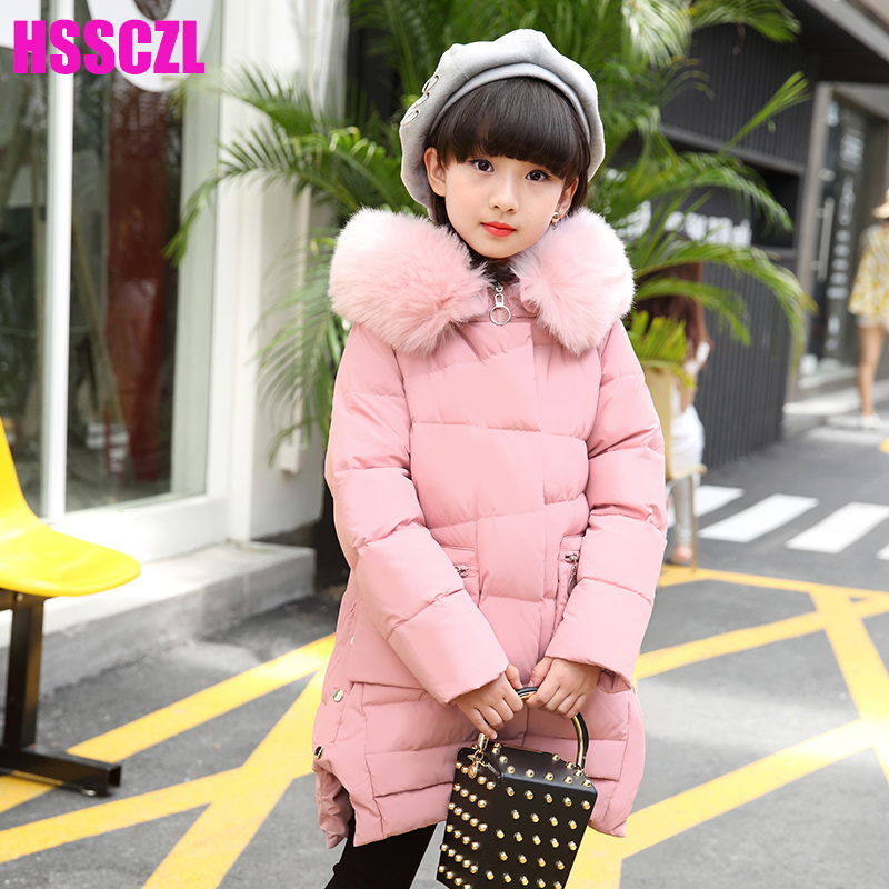 HSSCZL Girls Down Jackets winter 2017 New Hooded Girl Long Thicken Big Girl Down Jacket Children Coat Outerwear overcoat parkas girls down coats girl winter collar hooded outerwear coat children down jackets childrens thickening jacket cold winter 3 13y