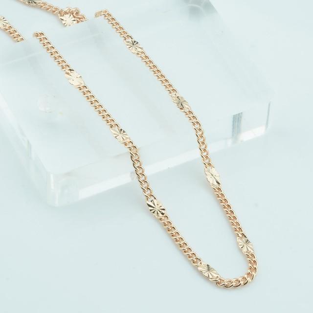 127628df20f3 FJ 3mm hombres mujeres Unisex 585 Color oro acera grabado collar acera 48  cm cadenas vende