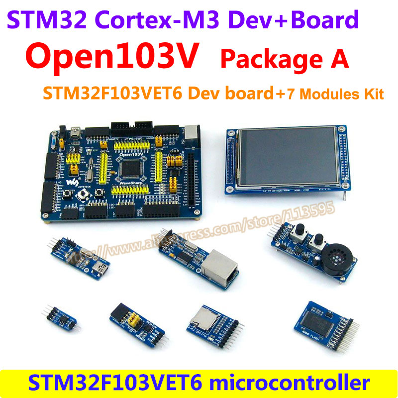 STM32 Board STM32F103VET6 STM32F103 ARM Cortex-M3 STM32 Development Board(72MHz)+7 Accessory Module Kit =Open103V Package A fireduino pc combine stem education scratch graphic program iot development board pcduino wifi module arm cortex m3 demo