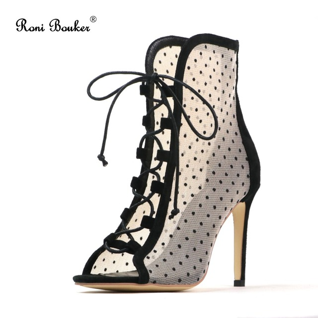 Roni Bouker Women Sandals Boots Big size Gladiator Shoes Genuine Leather Peep Toe Lace-up Fashion Sexy Party High Thin Heels