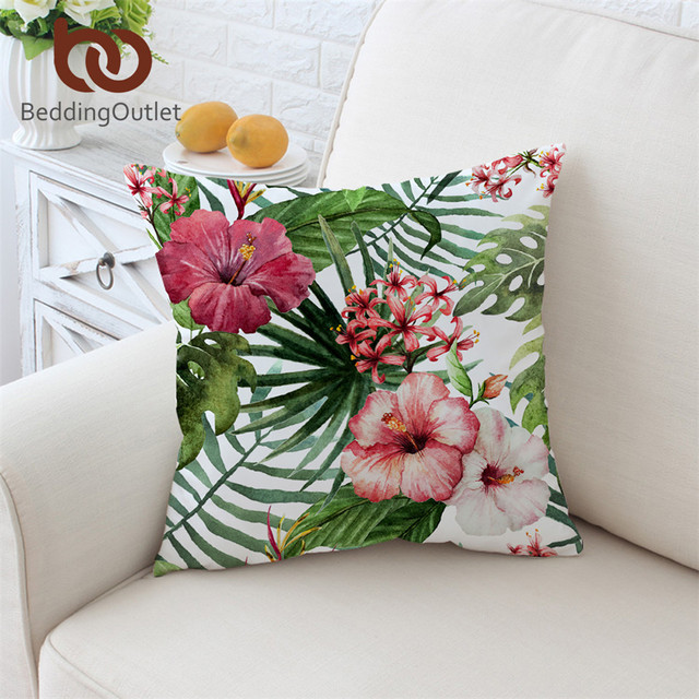 BeddingOutlet Flowers Cushion Cover Leaves Pillowcase Tropical Enchanting Red And White Decorative Pillows