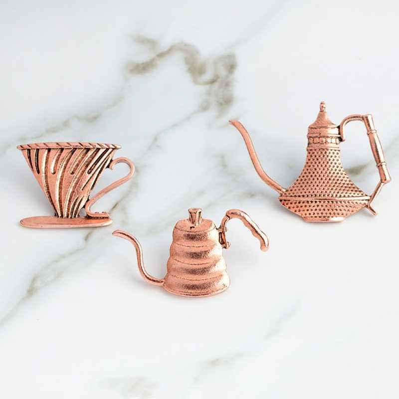 3 PC Vintage Cangkir Kopi Bros Latte Art Filter Piala Pot Pin Teh Sore Perhiasan