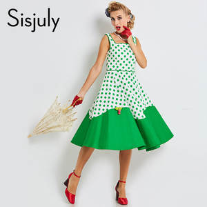 fc4a8c4b6ec Sisjuly 2018 women vintage strap female polka dot dress