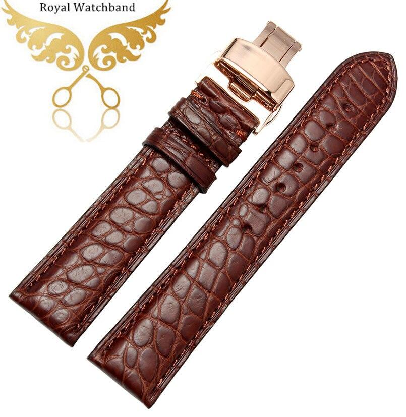18mm 19mm 20mm 21mm 22mm marron véritable noir Alligator cuir bracelet de montre Bracelets papillon déploiement bracelet de montre