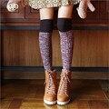 2016 Alta Lotação Meia-calça de Tatuagem Top Meias Sobre O Joelho Senhora Estudante Cosplay Lolita Stocking Quente Longo de Algodão Meia Estudante