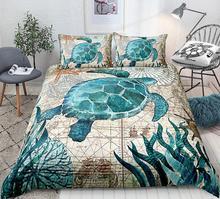 Turtle Duvet Cover Set Ocean Turtle Bedding Set Teal Retro Style Home Textiles Mediterranean Style Quilt
