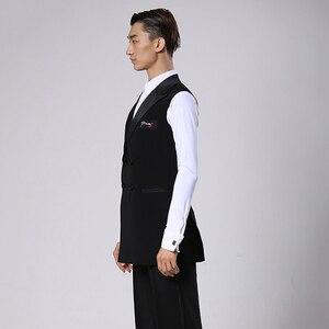 Image 4 - סלוניים לטיני ריקוד חולצות גברים שחור ארוך Veat מעיל זכר ואלס פלמנגו Cha Cha בגדי תחרות ביצועים ללבוש DNV11344