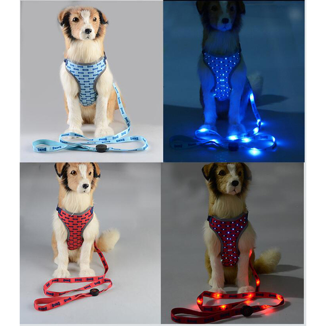 Led Dog Harness With Leashes Keep Safety In Night Led Pet Leashes With Harness For Teddy Puppy And Medium Dogs Dog Supplies