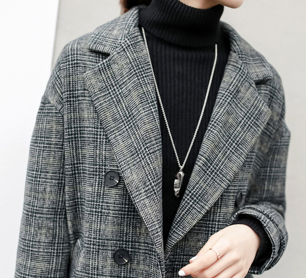 2017 Breasted Qualité Vérifier Laine khaki Chaude Haute Double long Femmes L'hiver Veste Plaid Manteau Moyen Grey Vente De Nouvelle FgFwZPWqr