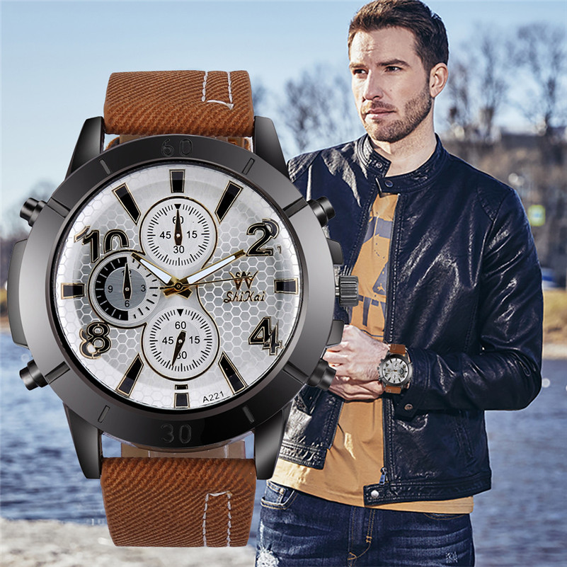 Hot Luxury Men Watches Men's Three-eye Large Dial Watch Classic Business Quartz Silica Gel Wristwatch Gifts Relogio Masculino `D