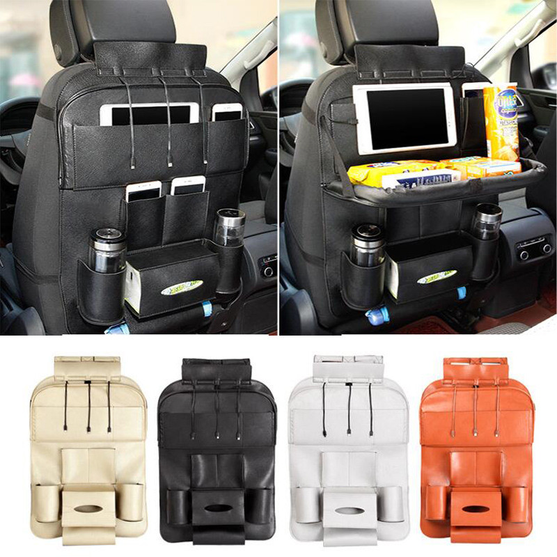 Car Auto Seat Back Multi-Pocket Storage Bag Organizer Food Table Pallet Holder with Multi-function Foldable Car Folding Holder shunwei sd 1130g multi function car cellphone eyeglasses small items holder black
