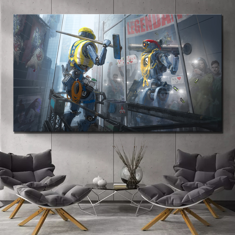1 Piece Apex Legends Game Poster Paintings Science Fiction Futuristic Robot Poster Artwork Canvas Paintings for Home Decor 1