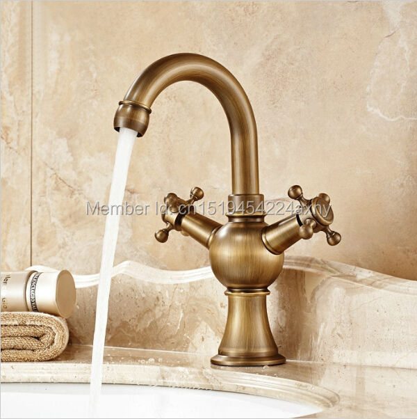 Free Shipping Bathroom Basin Faucet Dual Handle Antique Finish Hot and Cold Deck Mounted Swivel Water