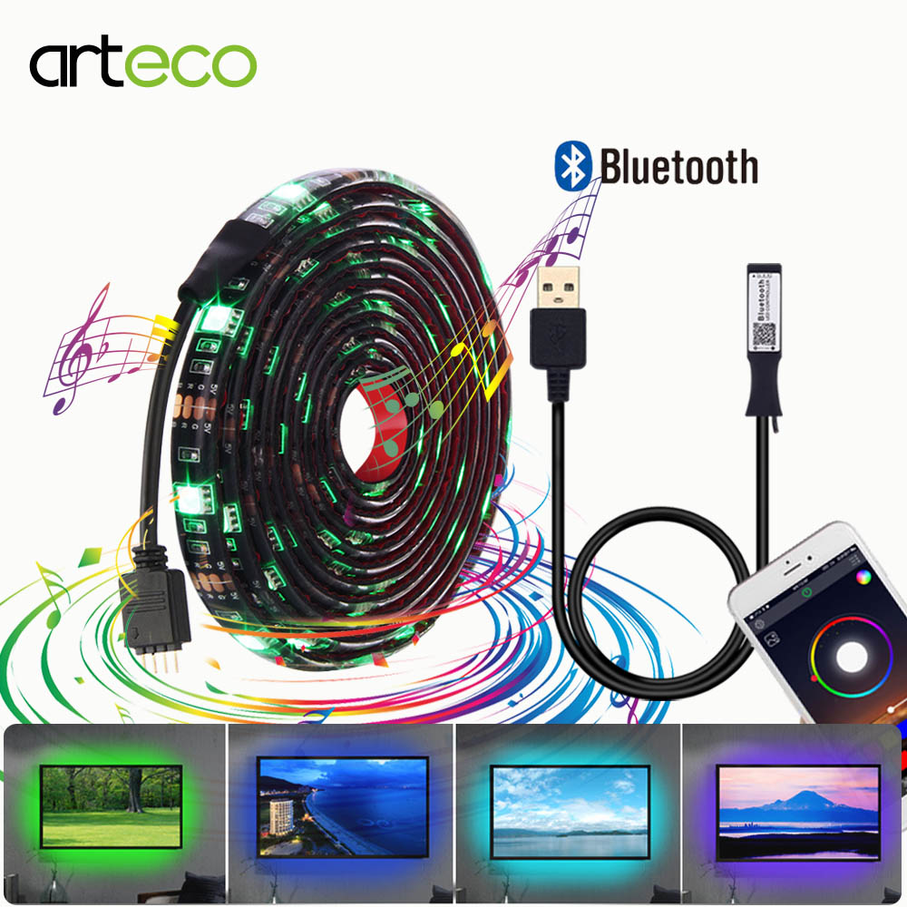 USB Led Strip Light Kit Bluetooth Controller RGB 5050 For TV Background light diode Tape IP20/IP65 Waterproof 0.5M 1M 2M