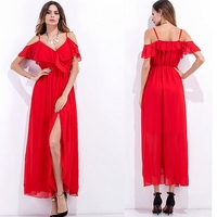 Plus Size Women Red Long Summer Dress 2017 V Neck Summer Sexy Party Cheap Clothes China