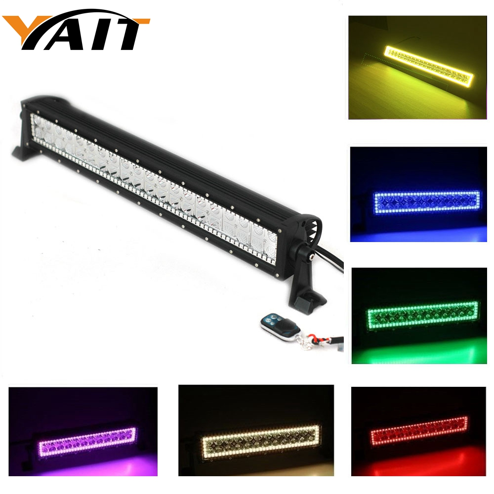 22 INCH 120W LED Light Bar Combo beam RGB Halo Ring RGB color by Remote for Driving Boat Car Truck 4x4 SUV ATV Off Road Fog Lamp