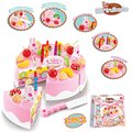 New 37pcs DIY Cookware Set Fruit Birthday Cake Children Pretend Play Toys Kitchen Kids Educational Assembling Toys