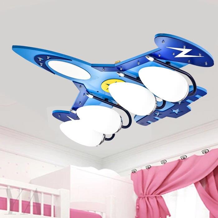 4 * e14 + led dos desenhos animados lustres de aeronaves montagem embutida lâmpada do quarto do miúdo criança iluminação quarto família luzes decorativas
