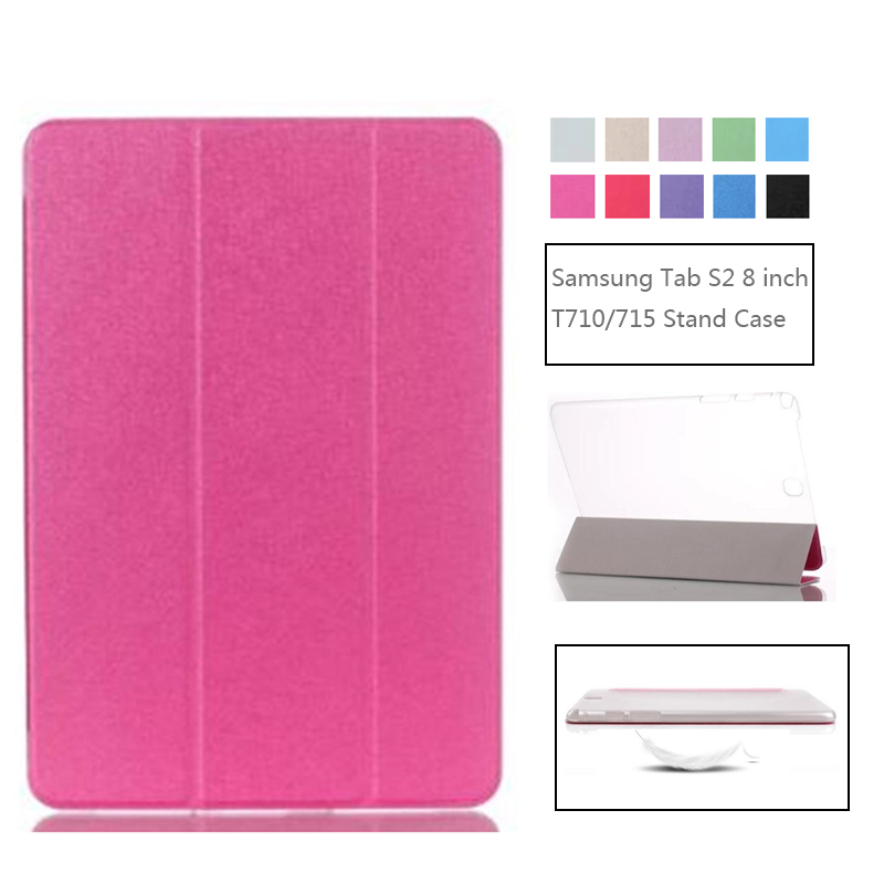 Tablet Case for Samsung Galaxy Tab S2 8.0 inch SM-T710 T715C T715 Stand Fold Leather PU Transparent Clear Protective Back Cover цены