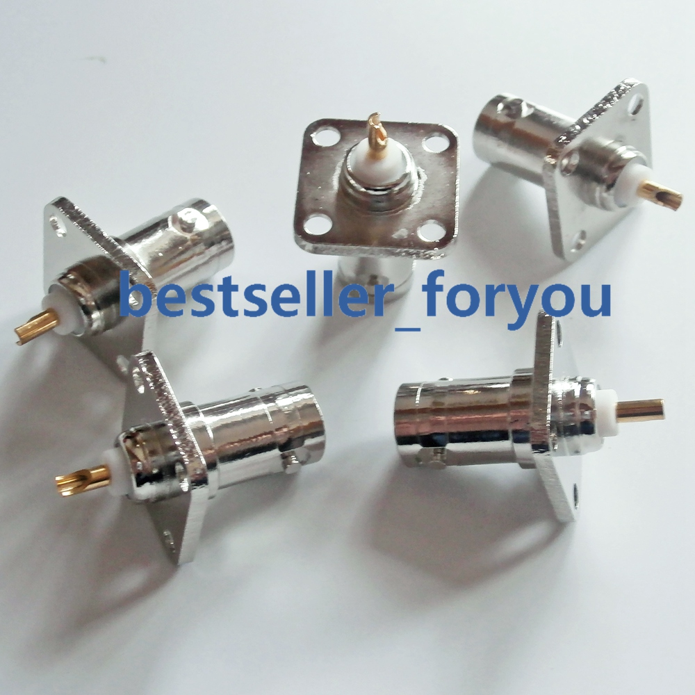 Brass BNC Female Jack With 4 Holes Flange Panel Chassis Mount Coaxial Solder Connector