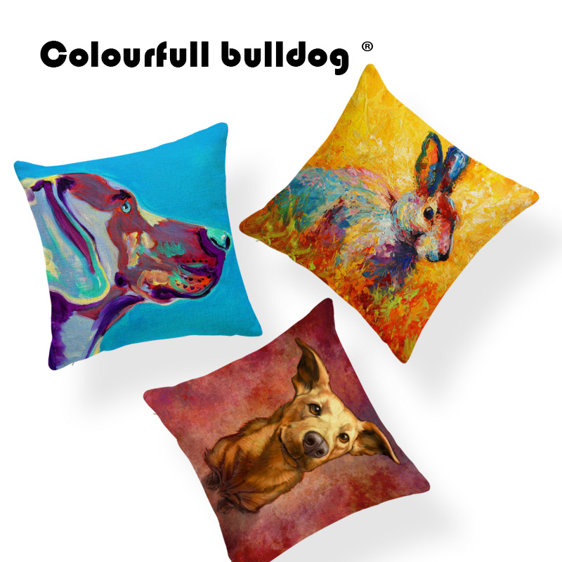 Yak Colorful Rabbit Cushion Cover Golden Retriever Cover Pillow Rock Lounger Chair Decor ...