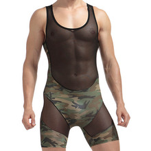 2017 Nylon sheer Mens sexy Underwear Transparent See through Camouflage patchwork Male Boxer shorts Bodysuits Gay lingerie