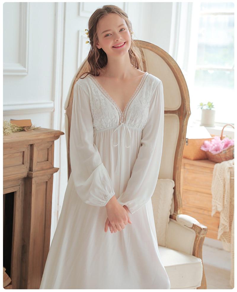Vintage Sexy Sleepwear Women Cotton Medieval Nightgown White Deep V