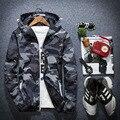 2016 Новый Камуфляж Куртка Мужчины Плюс Размер Камуфляж С Капюшоном Ветровки Куртки Военная Холст Куртка Куртка Мода Уличная