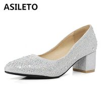 ASILETO pointed high heels pumps sequined crystal ladies slip on shoes woman big size 45 rhinestone chaussures femme zapato C279