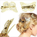 2016 Hot moda Feminina Brilhante Ouro Borboleta Grampo de Cabelo Cabeça Hairpin Headpiece Acessório Vestuário Acessórios Para o Cabelo