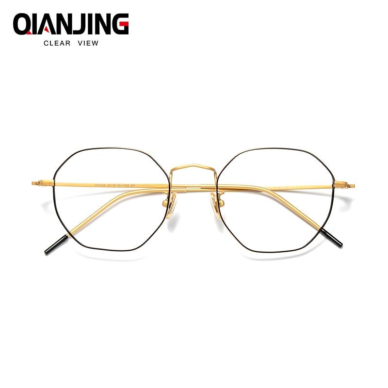 Pure titanium polygon retro glasses frames female irregular octagonal myopia frames women with fine color matching myopia men