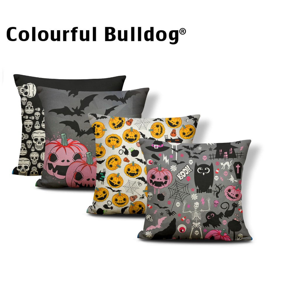 Character Skull Cushion Covers Halloween Pillow Cases European Gamer Chair Holiday Gift Throw Pillows Small Cotton Blend Brand