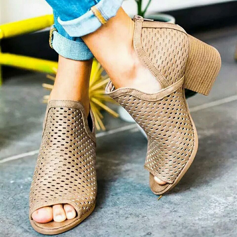 2019 spring sexy fish mouth hollow Roman sandals thick with high heels female summer Sexy female sandals sandalias mujer X5-03