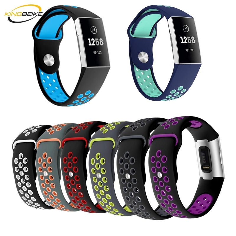 KINGBEIKE Soft Sport Silicone Watchband For Fitbit Charge 3 Smart Watch Band Replacement Wristwatch Bracelet Strap 7 Colors