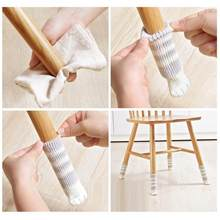 4 Pcs/set Knit Home Flower Floor Protector Leg Sleeve Table Chair Foot Cover Socks(China)
