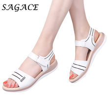 SAGACE Shoes Women leather sandals shoes rubber beach sandals 2019 summer pumps ladies sandals with heels women casual shoes(China)