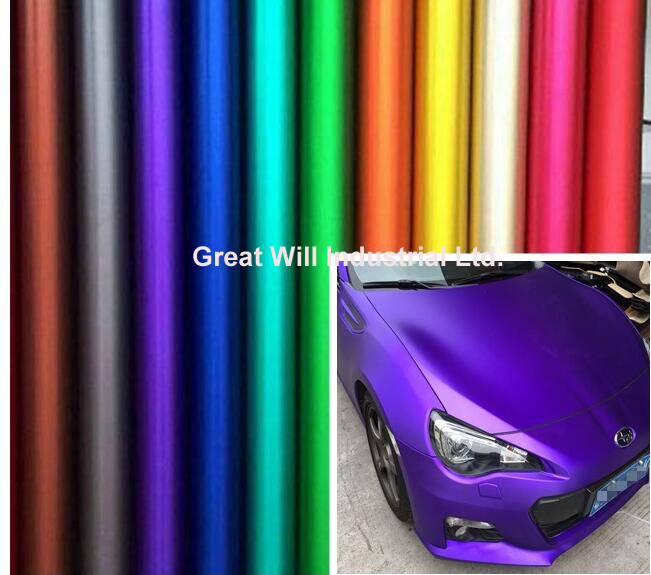 Ice Satin Chrome Vinyl Wrap Film Air Free Metallic Matt Chrome Car Wrap Covering Style Car Sticker Foil 1.52*20m/Roll/5ftx67ft