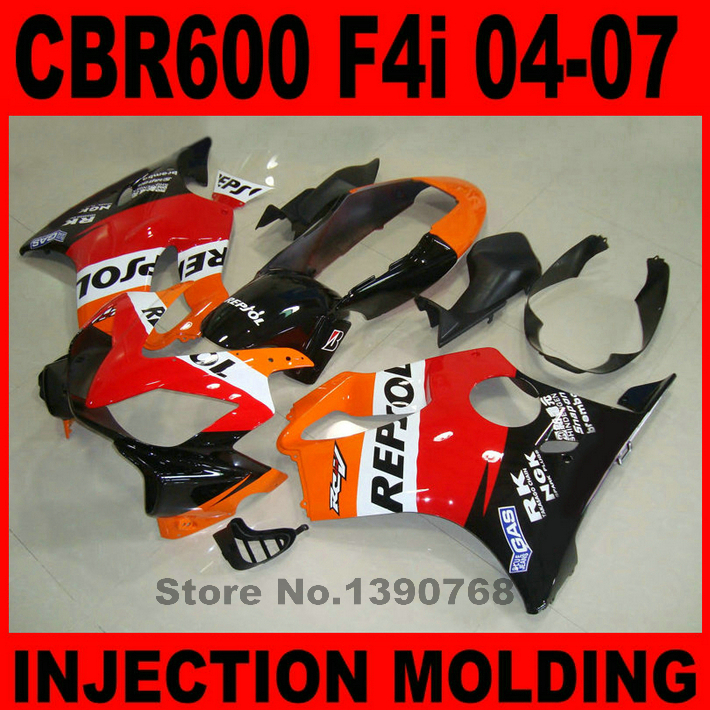 Injection molding fairing kit for HONDA CBR 600 F4i 2004 2005 2006 2007 black red REPSOL fairings set CBR600 04-07 bodywork BG14 injection molding fairing kit for kawasaki zx14r 06 07 08 09 2006 2009 wine red black 100% abs zx14r fairings op01