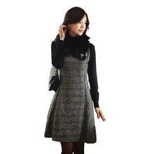 Зимнее платье женское осеннее модное базовое S-3XL размера плюс утолщенное теплое твидовое клетчатое платье с v-образным вырезом без рукавов шерстяное платье