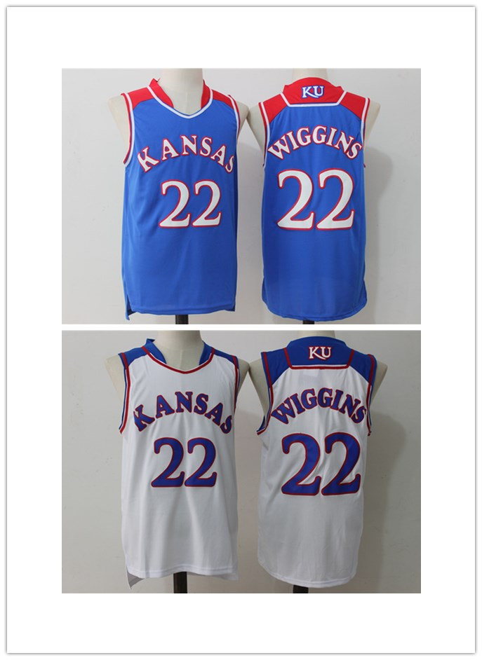 BONJEAN Cheap Throwback Basketball Jerseys 22 Andrew Wiggins Jersey Kansas Jayhawks KU College Stitched Retro Mens Shirts