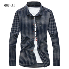 Mens Plaid Shirt Long Sleeve 2017 Fashion Autumn Mens Dress Shirts 100% Cotton Slim Fit Shirt Men Plus Size M-4XL High Quality