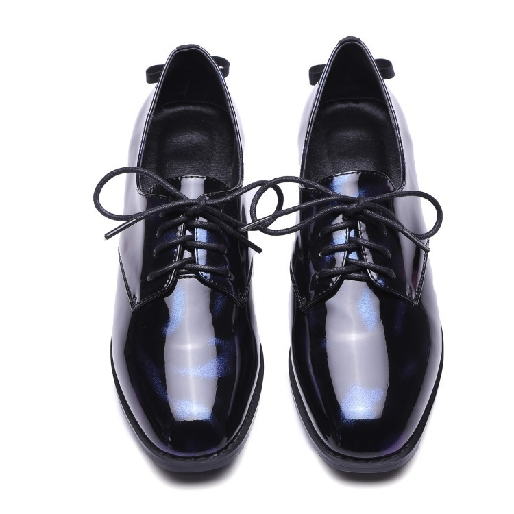 ФОТО 2017 Spring New Ladies Patent Leather Strap Square Toe Stylish Women Lace Up Brogue Oxford Shoes